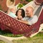 Bossanova Bordeaux Red Family hammock with hammock stand.