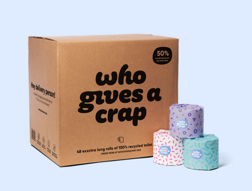 Who Gives a Crap Toilet Roll box of 48 (also available from us in smaller quantities)