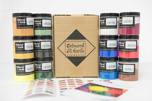 11 x 100g of Coloured Earth Pigments and 1 x 100g of Gum Arabic Powder for creating Watercolour Paints.
