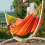 Sonrisa Single Hammock here suspended using the Canoa - FSC certified - Spruce Hammock Stand (not included)