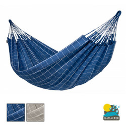 Brisa Large Hammock from La Siesta. Weather Resistant Hammock. Grid Pattern in Blue or Grey