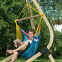 Sonrisa Wild Berry - Weatherproof Basic Hammock Chair - suspended from wooden hammock fram (Vela Caramel).