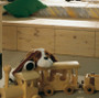 Osmo Wood Wax Finish (3101 Clear) safely protecting the children's toys and wood framing in the children's bedroom