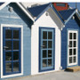 Wooden Summer House painted in Blue and White Osmo Country Colour.