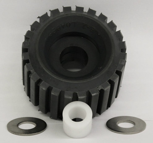 """5"""" Ribbed Roller (EZ) W/ 3/4 ID Bush & 2 Ea 5/8"""" ID Stainless Steel Washer"""
