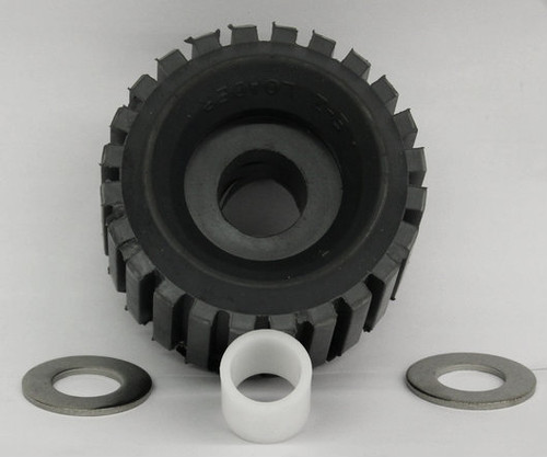"""EZ LOADER Grey Ribbed Roller with 1-1/16"""" Stainless Steel Washer/Bushing"""