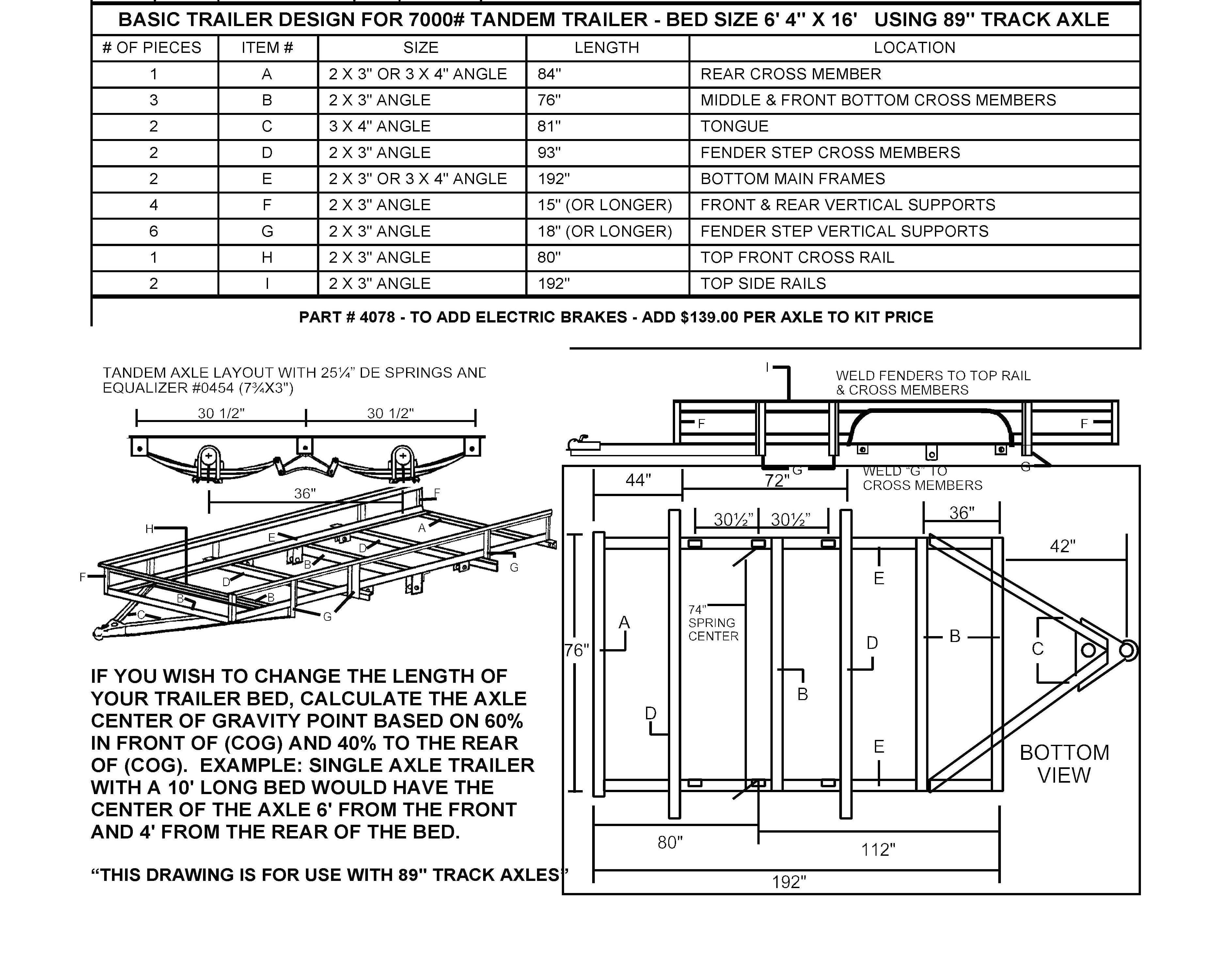 95 tandem trailer parts kit