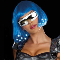 LIGHT UP BLUE WIG
