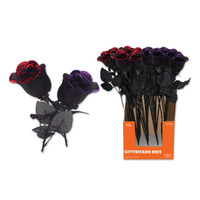 PURPLE GLITTERED BLACK ROSE