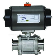 Pneumatically Actuated 3-Piece Stainless Ball Valves