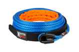 """Amsteel Blue Synthetic Winch Line with gusset tube thimble. The gusset tube thimble will not crush under load, so a shackle pin up to 1"""" diameter will always fit in the eye."""