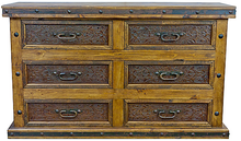 Six Drawer Dresser w/ Tooled Leather