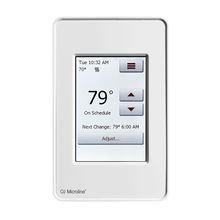 """OJ Electronics floor heating touch screen thermostats are easy to use and install.  It is recommended that whenever possible that a 4"""" utility box with plaster ring be used when heating loads exceed 2000W as a means of extending thermostat longevity."""
