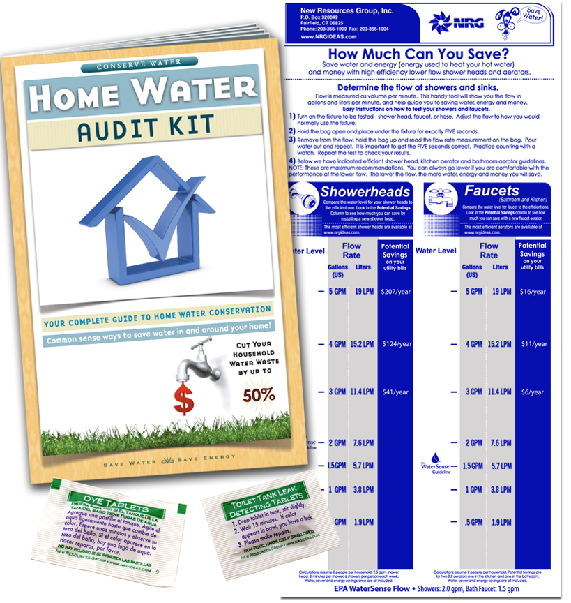 Water audit book with faucet flow gauge bag and leak detecting dye tablets