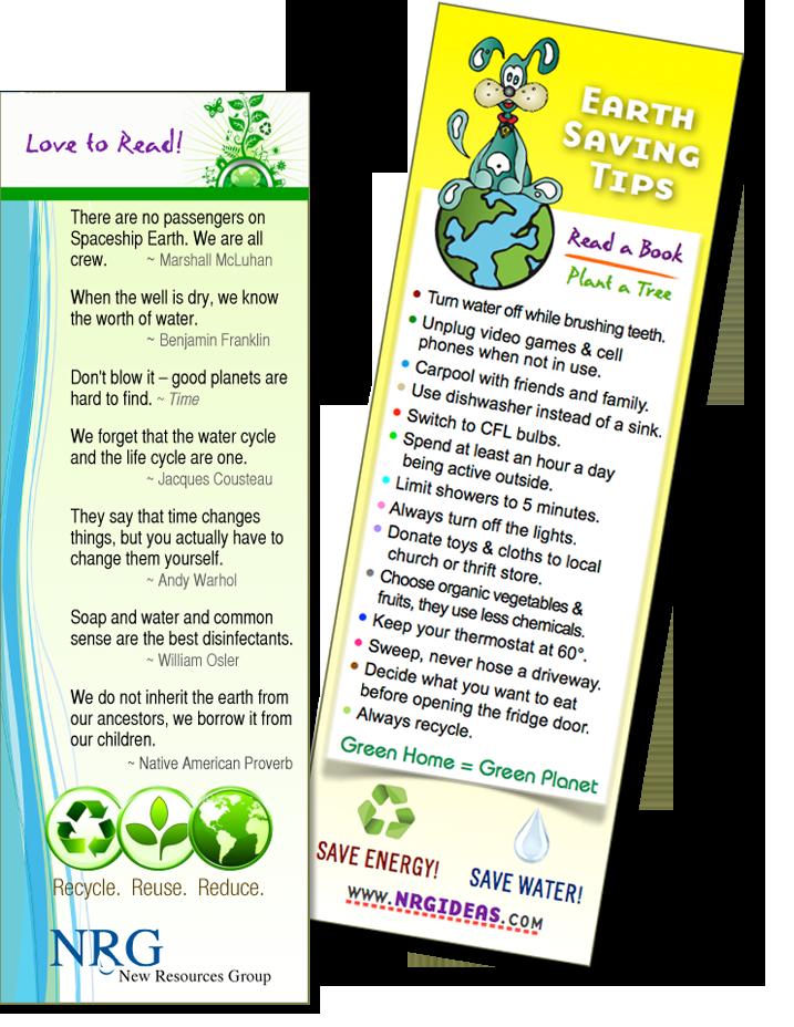 earth day bookmark water energy earth saving tips go