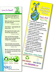 Earth day - Bookmark | Save your place with Earth saving quotes & tips.