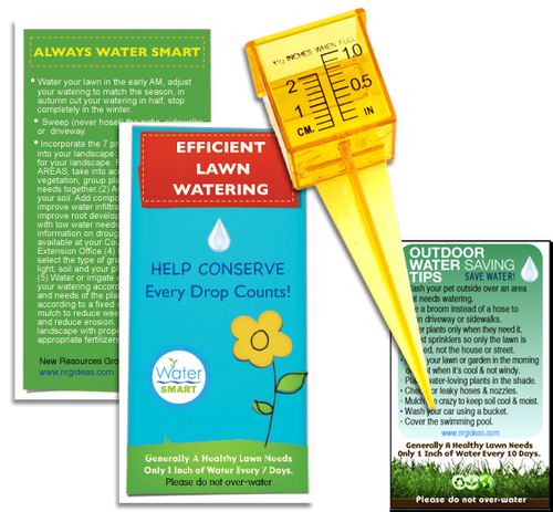 Outdoor water conservation kit with a six page lawn watering guide booklet, a magnet, and a rain gauge