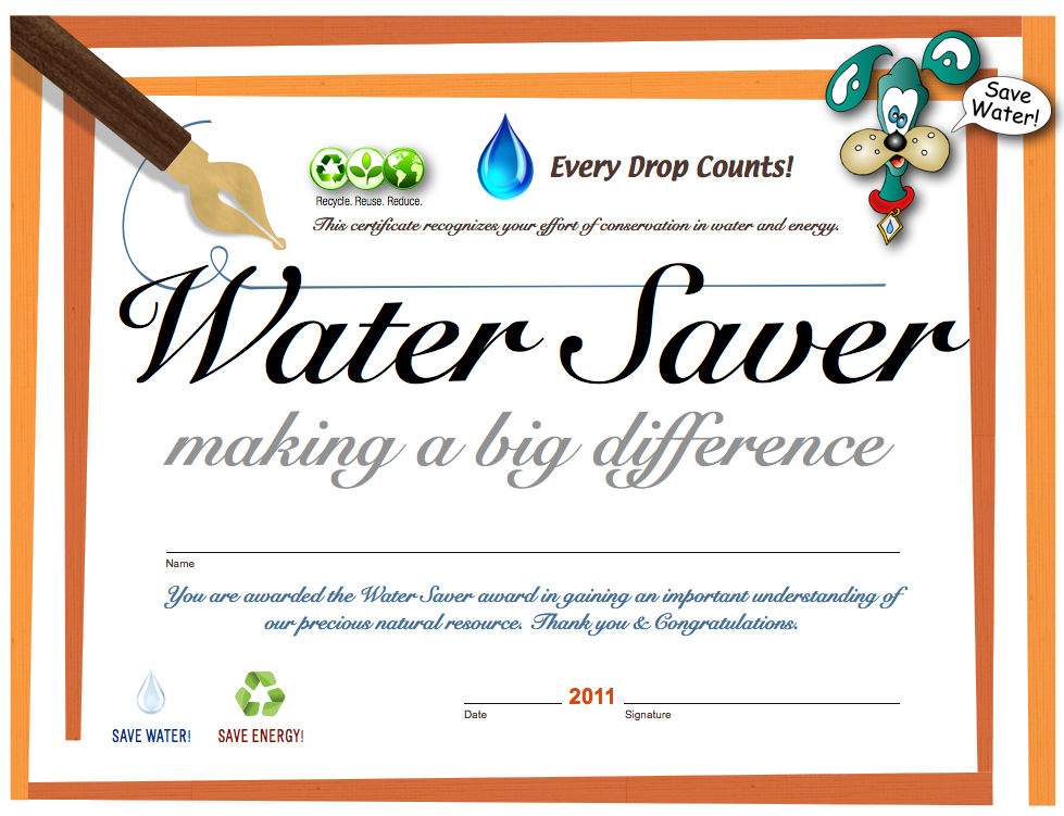 student water achievement certificate child water conservation