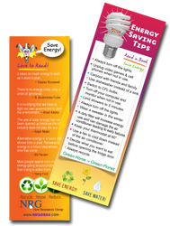 Save Energy - Tip Bookmark | Save your place with Energy saving quotes & tips.