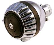 Chrome full flow shower head, with on/off feature and 3 luxurious shower settings.