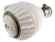 White plastic shower head, 1.75 gpm, water saving model with 3 luxurious settings.