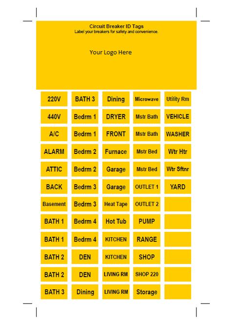Circuit breaker labels.
