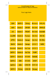 Circuit breaker labels.