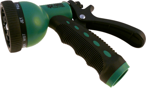 Plastic hose green hose nozzle with 9 positions.