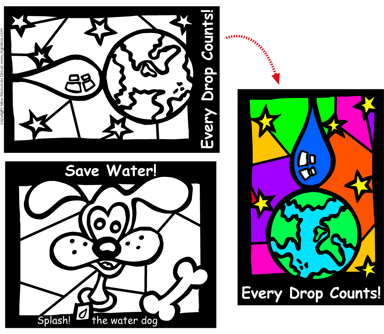 Fun Stained Glass Coloring Sheets - Window Water Saving Messages ...