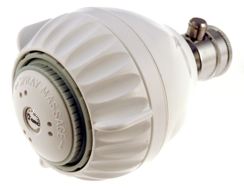 Water saving white shower head, 1.5 gpm, with 3 luxurious shower settings.
