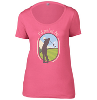 I'd Rather Be Golfing Womens Scoop Neck T-Shirt