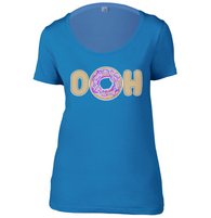DOH Doughnut Womens Scoop Neck T-Shirt