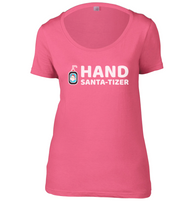 Hand Santa-Tizer Womens Scoop Neck T-Shirt