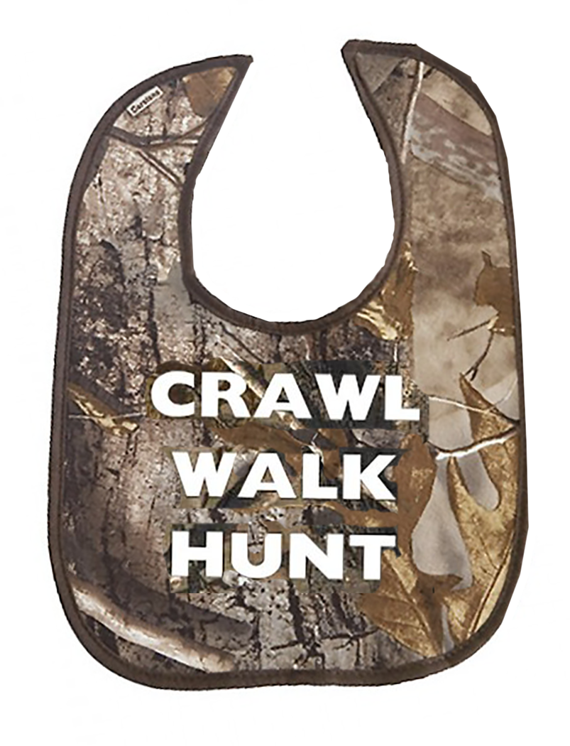 Crawl Walk Hunt Baby Bib