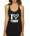 I Love Fishing Black racerback Tank Top