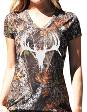 Licensed Mossy Oak Deer Skull V Neck Shirt For The Ladies and Teen Girls with sizes from small, medium, large, xtra large and 2x