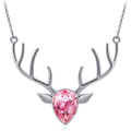 Dark Pink Rose Deer Skull and Antler Necklace by Southern Designs