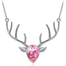 Dark Pink Rose Deer Skull and Antler Necklace by Southern Designs
