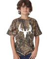 Youth Size Realtree Camouflage White Deer Skull Shirt - Perfect For back to school