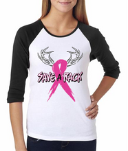 Save The Rack Best Selling Breast Cancer Raglan Baseball Tee For Women