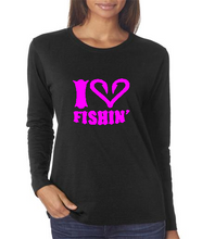 Black I Love Fishing Shirt With Pink Logo