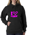 Women's I Love Fishing Hoodie with Fish Hooks