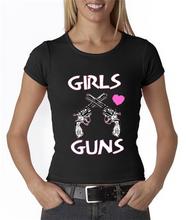 Girls Love Guns Crossed Guns With Pink Heart