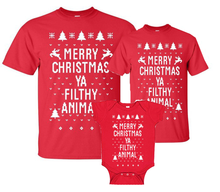 Family Merry Christmas Ya Filthy Animal Short Sleeve Shirt In Red