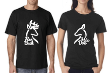 His and Hers Buck and Doe Black T Shirts