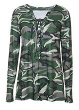 Fashion Ladies Camo V Neck Long Sleeve Shirt