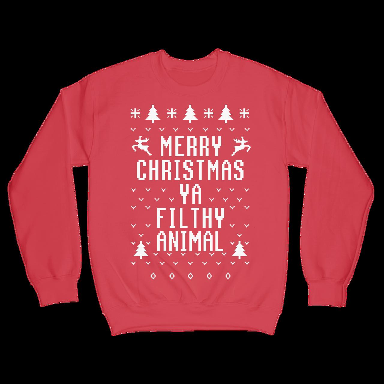 Merry Christmas Ya Filthy Animal Shirt.Merry Christmas Ya Filthy Animal Crewneck Sweatshirt