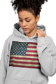 Plus Size Grey USA Flag Hoodie