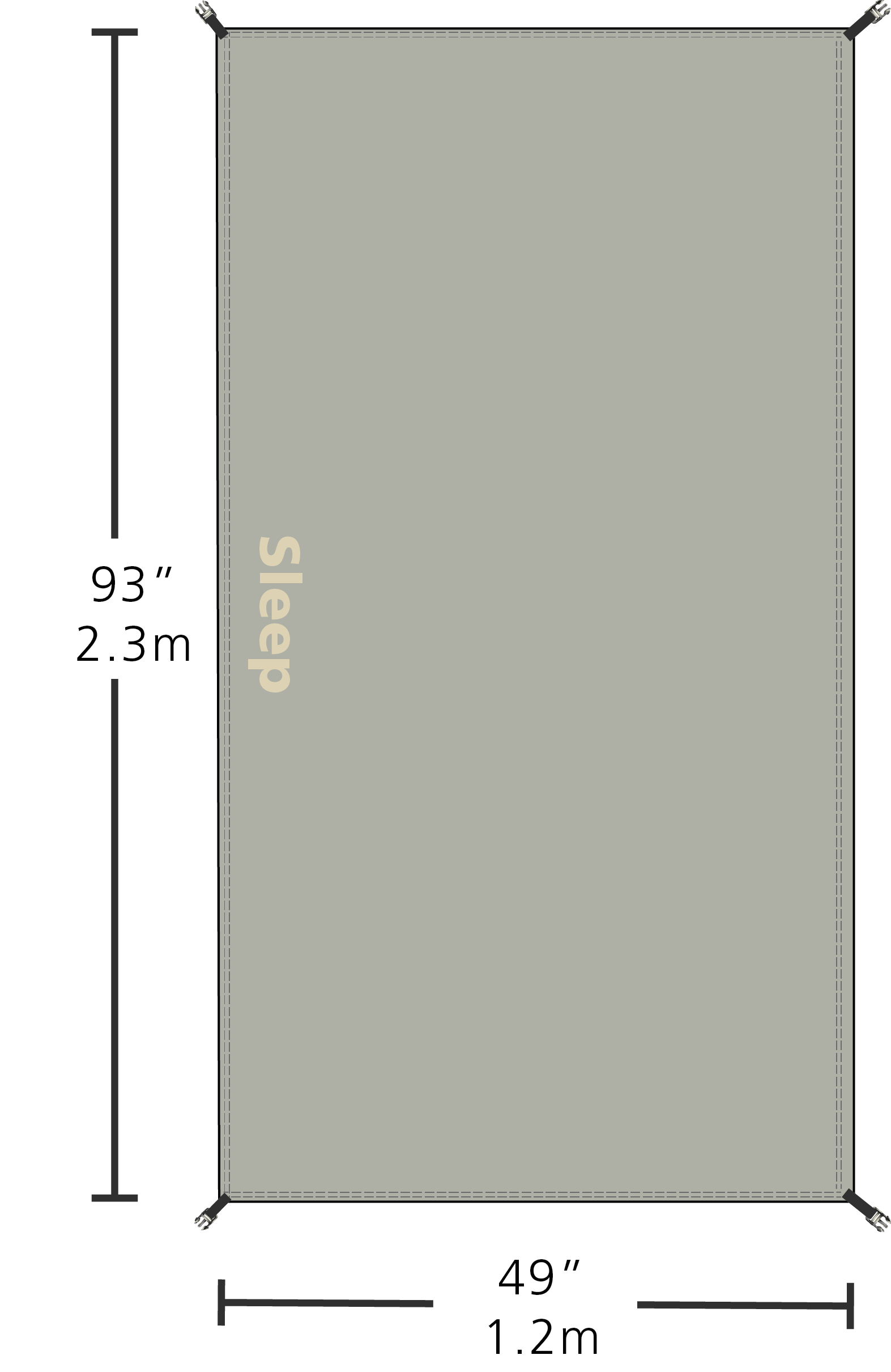 custom fit Groundsheet for the Sleeping bay of the Solo Expedition tent - redverz