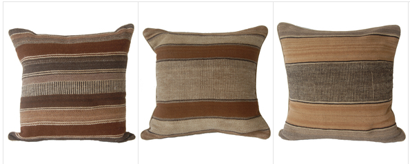Pillows made from handmade textiles by UPAVIM